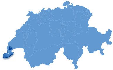 Map of Switzerland where Geneva is pulled out