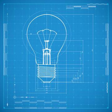 Blueprint of bulb lamp. Stylized vector illustration.