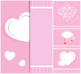 Heart from paper Valentines day card vector background