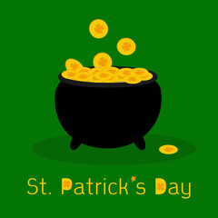 Black pot full of leprechauns gold coins with lucky clovers. St