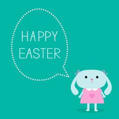Easter bunny girl and dash line egg bubble. Card.