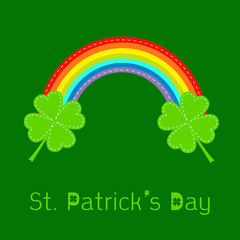 Rainbow and two clover leafs. St Patricks day card. Flat design.