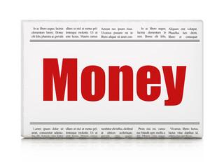 Finance concept: newspaper headline Money