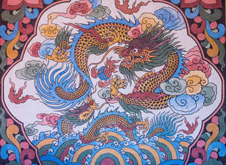 Dragon paint in the wall