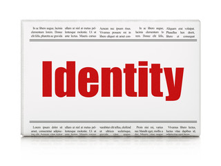Protection concept: newspaper headline Identity
