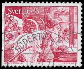 SWEDEN - CIRCA 1971: a stamp printed by SWEDEN shows Santa Claus