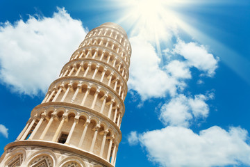 Pisa leaning tower from low angle