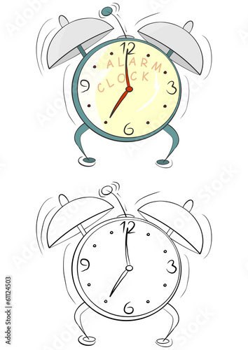 Coloring Page With Cartoon Alarm Clock On A White Background