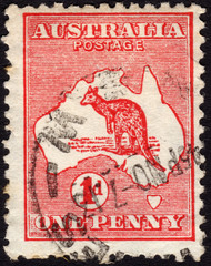 Postage stamp showing the map of Australia and the image of a ka