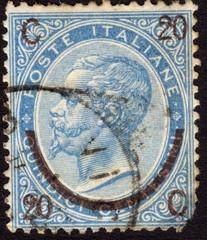 Postage stamp showing King Victor Emmanuel II, ca. 1865