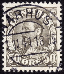 Postage stamp showing King Cristian X of Denmark ca. 1934