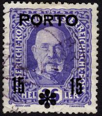 Postage stamp showing Austrian emperor Franz JosephI