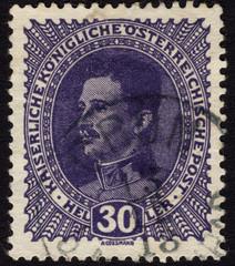 Postage stamp showing Austrian emperor Charles I