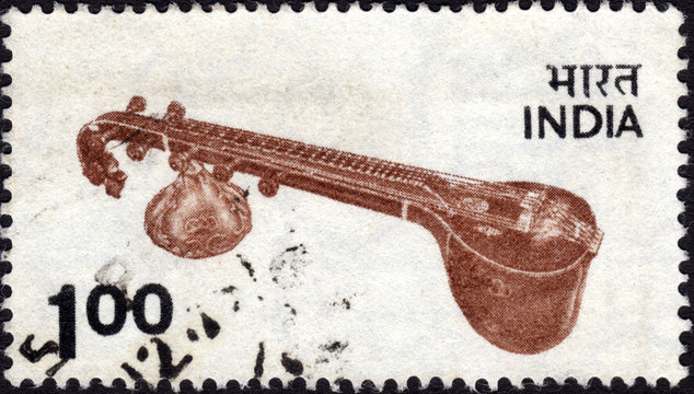 Postage stamp showing an Indian sitar