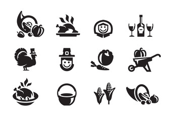 Thanksgiving Day icons. Vector format