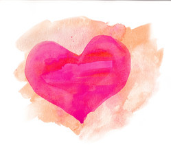 Watercolor heart. Pink and beige colors