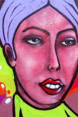 Colorful murals of the woman face
