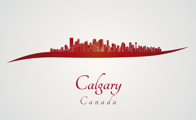 Calgary skyline in red