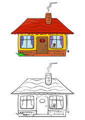 Coloring page of cartoon little house on a white background.