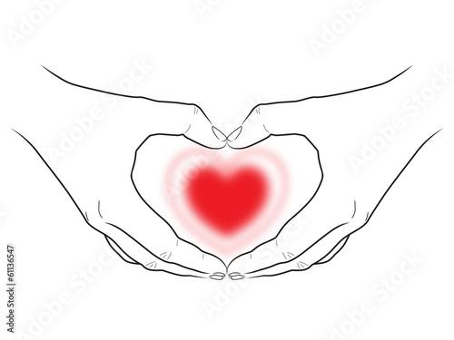 Zeichnung: Zwei Hände umfassen herzförmig ein rotes Herz\