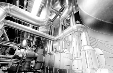 B&W sketch of industrial equipment