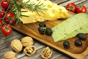 Cheese board - various types cheese.