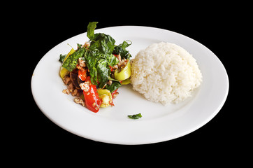 pork basil with rice