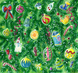 Christmas background with conifer and baubles