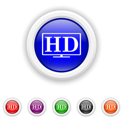 HD TV icon - six colours set vector