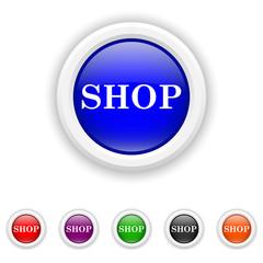 Shop icon - six colours set vector