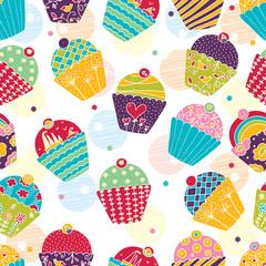 Sweet cake. Seamless pattern. Vector.