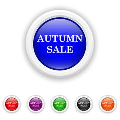 Autumn sale icon - six colours set vector