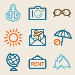 Travel web icons, vintage series