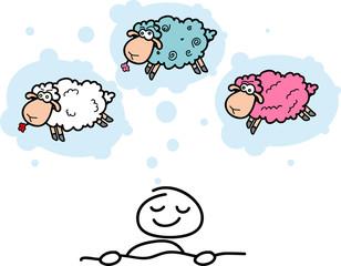 cartoon sheep and sweet sleeping men