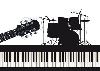 Gitarre, Piano und Schlagzeug