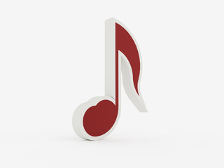 Red 3d music note concept