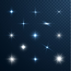 Stars and sparkles collection on transparent background