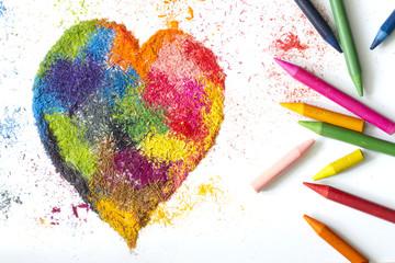 Crayon heart shape abstract handmade symbol