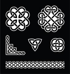 Celtic knots patterns in white on black background