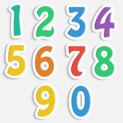set of colorful digits.multicolored numbers.vector