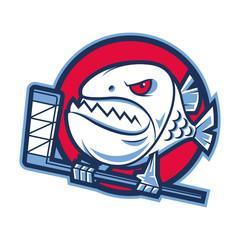 Emblem aggressive piranha holds hockey stick