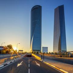 modern skyscrapers at sunrise