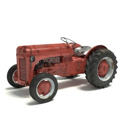 3d illustration of an old rusty tractor