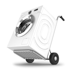 Delivery of washing machine. Isolated on white background