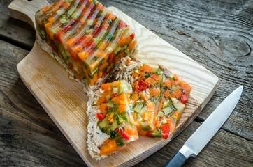 Chicken galantine with vegetables