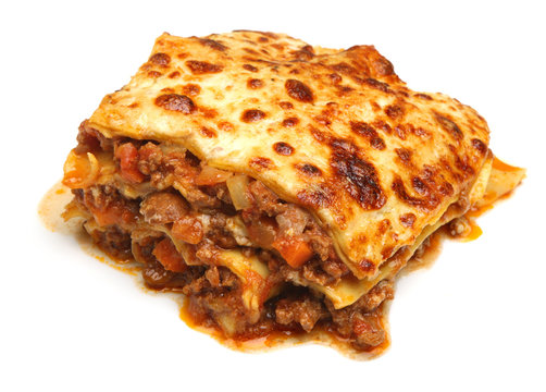 Beef Lasagna Isolated on White
