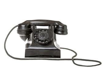 Old-fashioned black rotary telephone