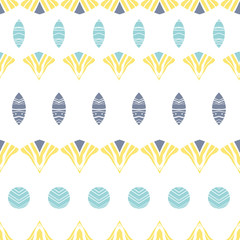 Vector abstract tribal shapes stripes seamless pattern