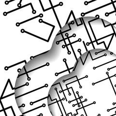 Circuit board illustration, digital composition.