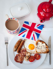 English Breakfast with cup of tea, toast and british flag